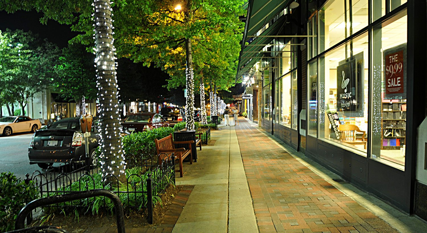 Bethesda sidewalk at night